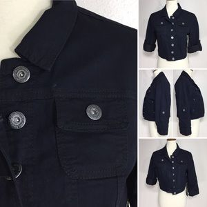 Tab Roll Sleeve Dark Navy Crop Denim Jean Jacket